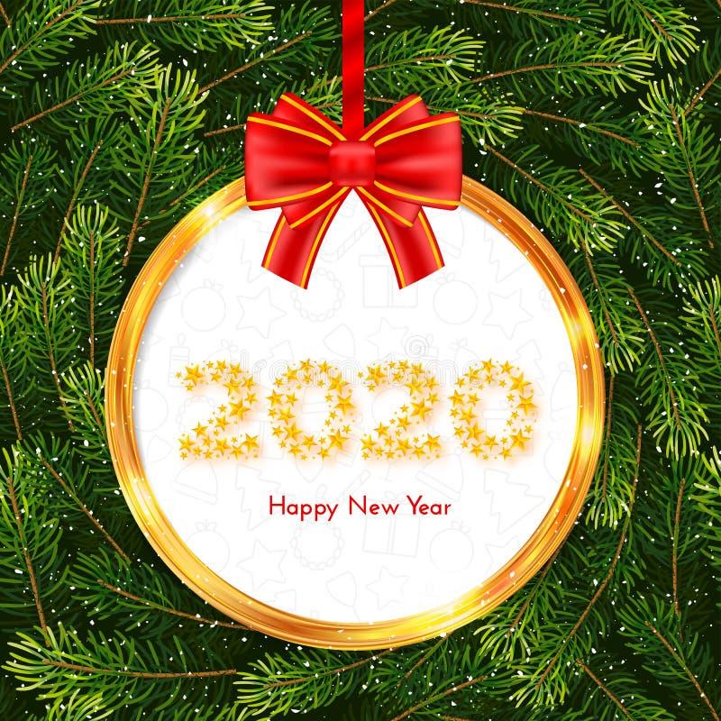De kaart van de vakantiegift Gelukkig Nieuwjaar 2020 Gouden cirkelkader en rode boog op de achtergrond van sparrentakken Vector i stock illustratie