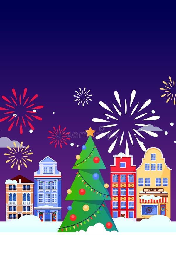 De kaart van de de vakantiegroet van Kerstmisnieuwjaren Vector vlakke illustratie Carnaval, festivalbanner, affiche achtergrondon stock illustratie