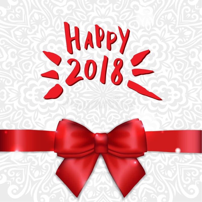 De kaart van de vakantiegroet met satijnlint en boog Kalligrafie Gelukkig Nieuwjaar 2018 Gelukwensen, Uitnodigingen, Fotobekledin royalty-vrije illustratie