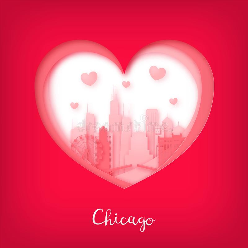 De kaart van valentijnskaarten Document besnoeiingshart en stad van Chicago stock illustratie