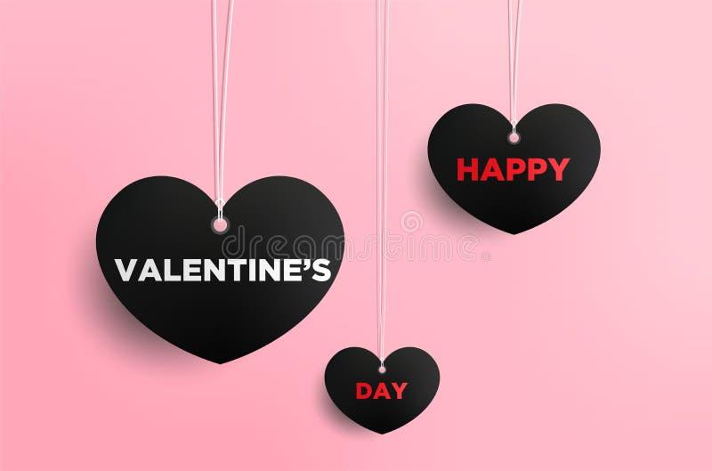 De kaart van de valentijnskaartendag met harten en plaats voor uw tekst royalty-vrije illustratie