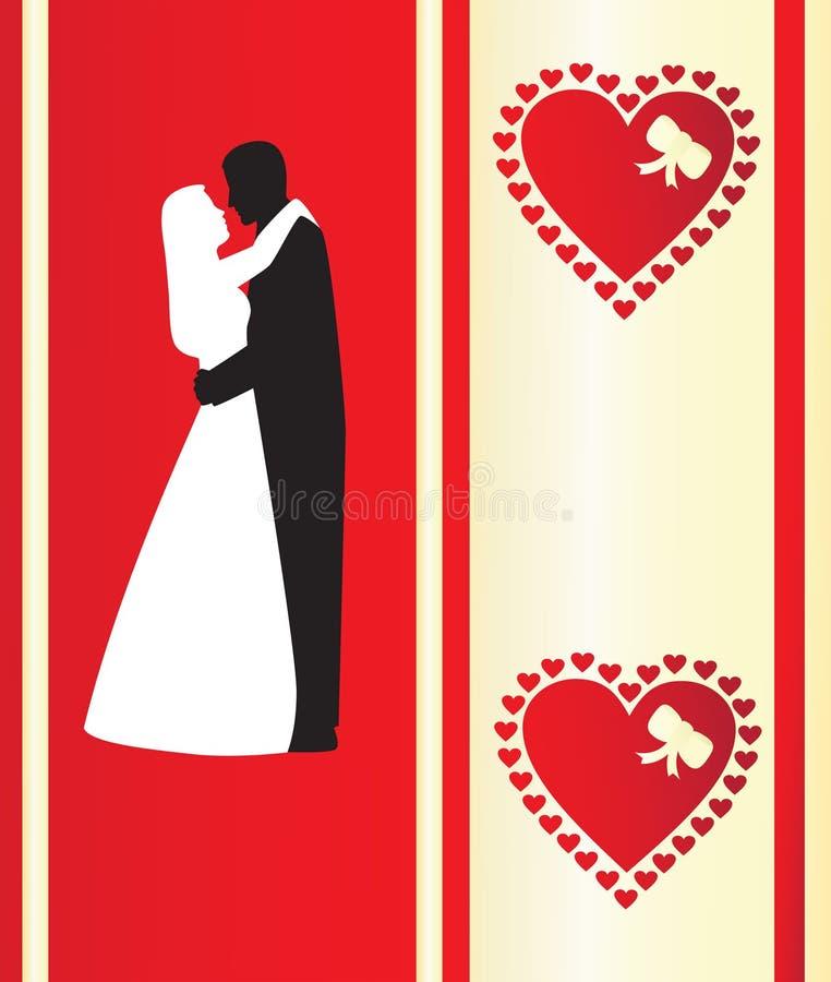 De kaart van Valentineâs met silhou vector illustratie