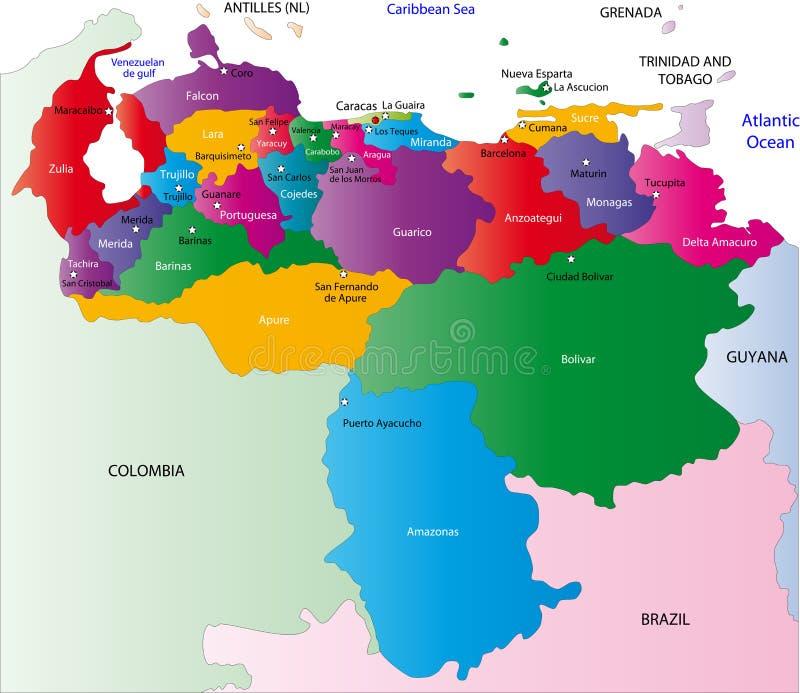 De kaart van Venezuela stock illustratie