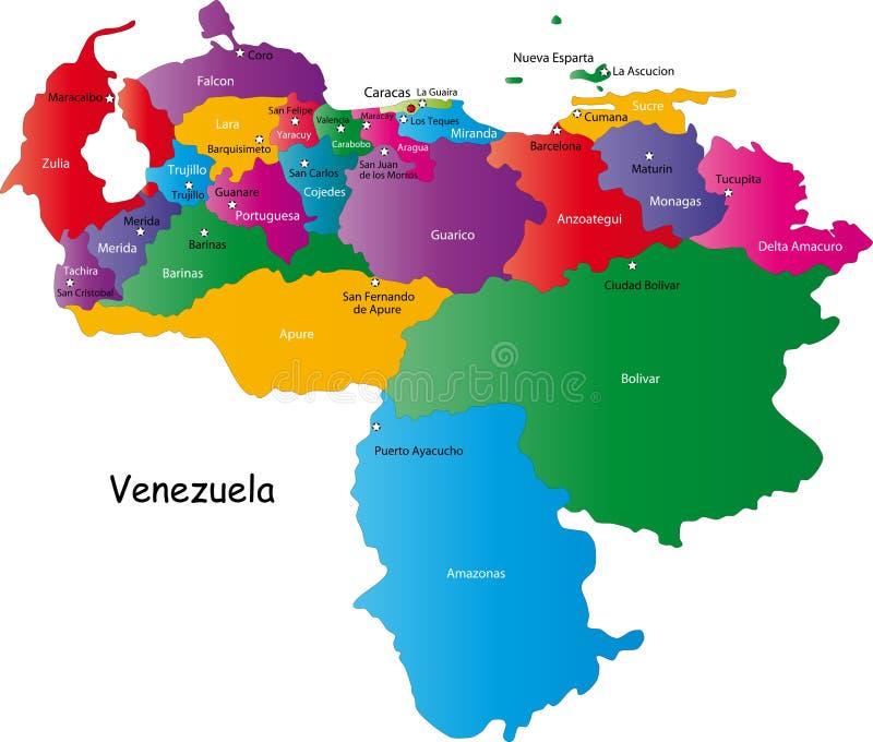De kaart van Venezuela vector illustratie