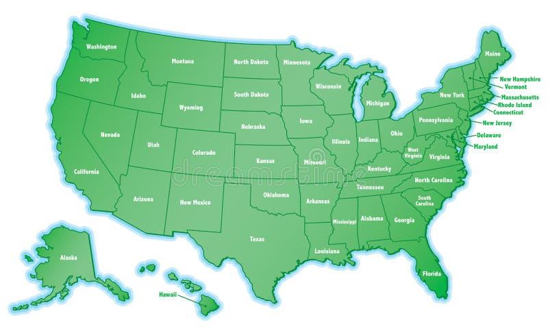 De Kaart van Verenigde Staten royalty-vrije illustratie