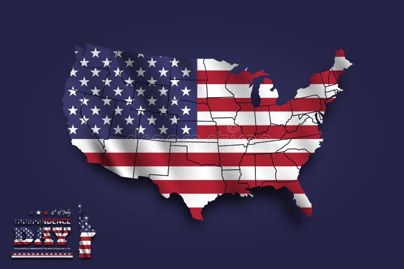 De kaart van de Verenigde Staten van Amerika en golvende vlag vierde van juli-het concept van de Onafhankelijkheidsdag Achtergron stock illustratie