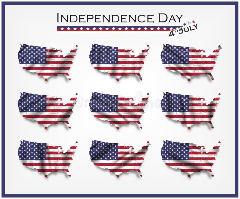 De kaart van de Verenigde Staten van Amerika en het golven vlagreeks Onafhankelijkheidsdag van het concept van de V.S. vierde Jul stock illustratie