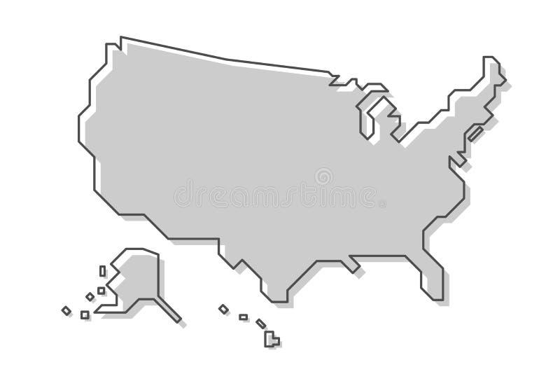 De Kaart van de Verenigde Staten van Amerika Moderne eenvoudige lijnstijl Vector vector illustratie