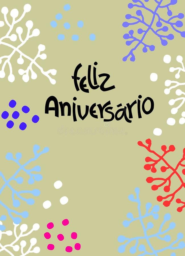 De kaart van de verjaardagsgroet in het Portugees De tekst zegt Gelukkige Verjaardag Hand het van letters voorzien met minimalist stock illustratie