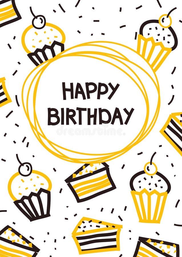 De kaart van de verjaardagsgroet met muffins en cakes vector illustratie