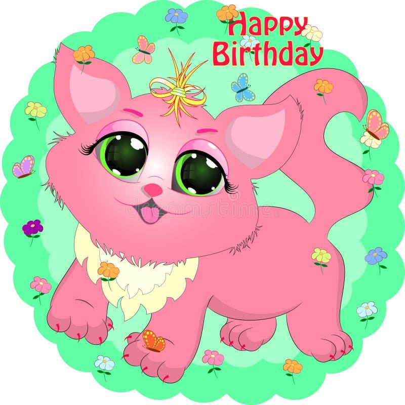 De kaart van de verjaardagsgroet met roze kat vector illustratie