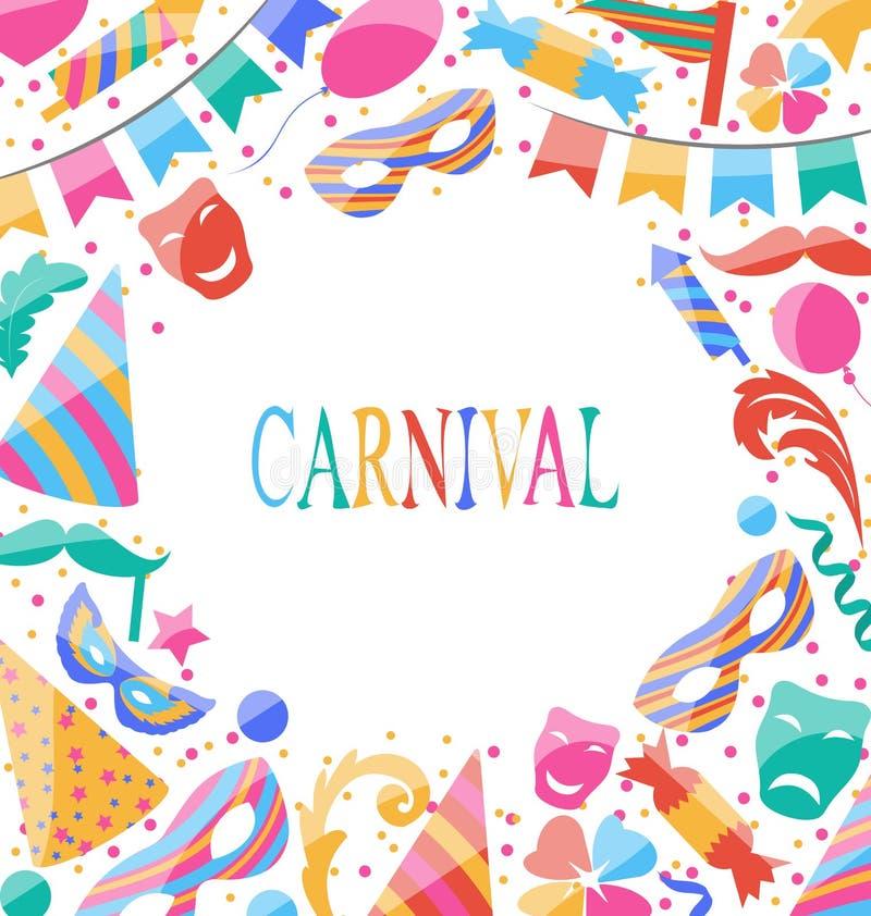 De kaart van vieringscarnaval met partij kleurrijke pictogrammen en voorwerpen royalty-vrije illustratie