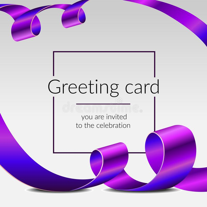 De kaart van de vieringsgroet, luxeaffiche, glanzende linten isoleerde vector purpere banden, kader voor tekst Het grote Openen royalty-vrije stock afbeeldingen