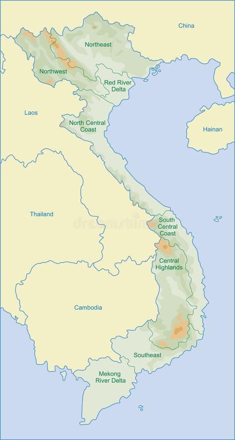 De kaart van Vietnam stock foto's