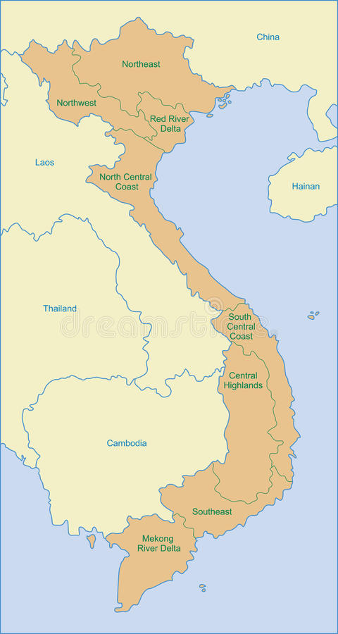 De kaart van Vietnam stock afbeeldingen
