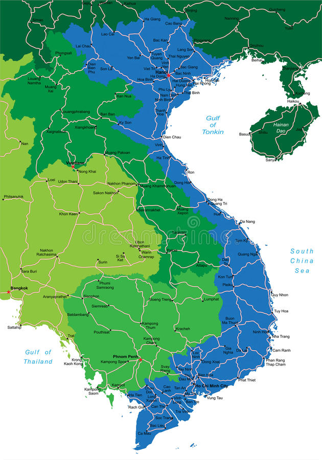 De kaart van Vietnam royalty-vrije illustratie