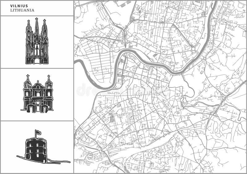 De kaart van de Vilniusstad met hand-drawn architectuurpictogrammen vector illustratie