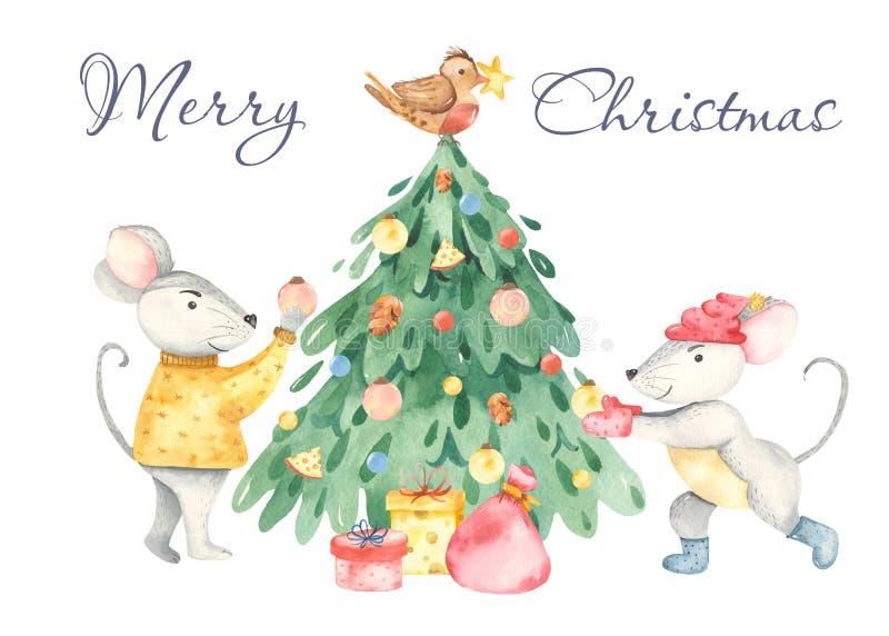 De kaart van waterverfkerstmis met leuke ratten, Kerstmisboom, giften vector illustratie