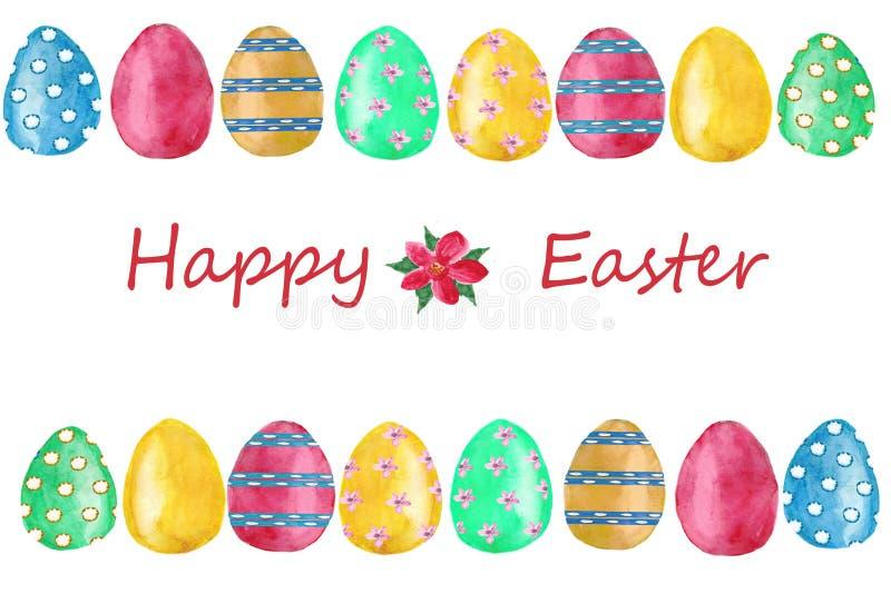 De kaart van waterverfpasen met geschilderde eieren en gelukkig Pasen-brieven rechthoekig kader Ontwerpelement voor groetkaarten royalty-vrije illustratie