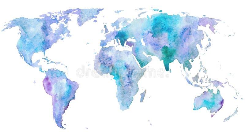 De kaart van de wereld Aarde watercolor vector illustratie