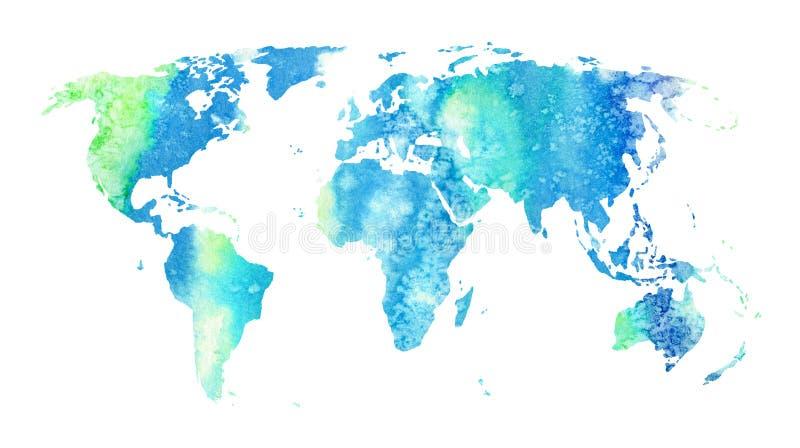 De kaart van de wereld Aarde Waterverfhand getrokken illustratie vector illustratie