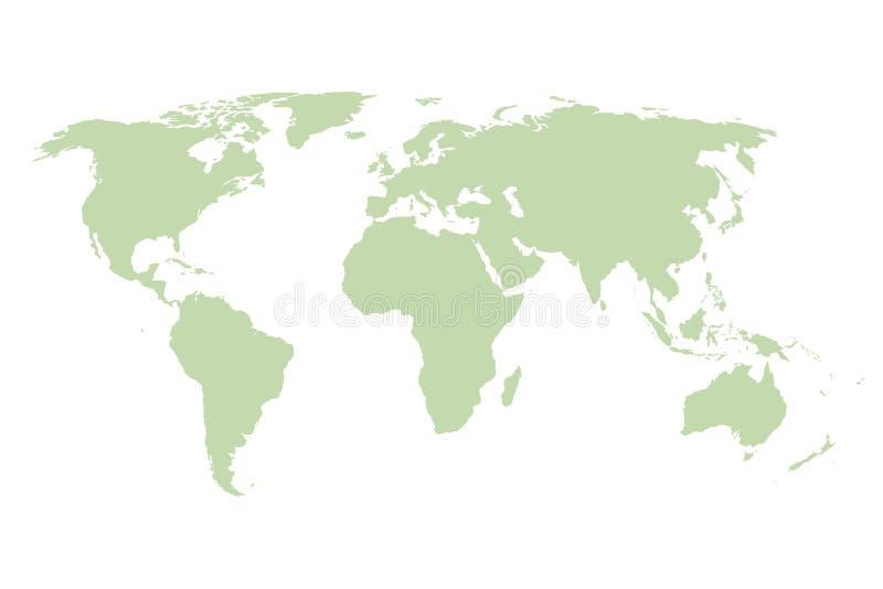 De kaart van de wereld Vector groen malplaatje stock illustratie