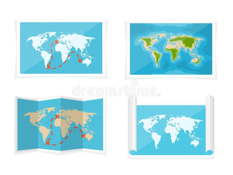 De kaart van de wereld Vector illustratie nearsighted Afrika Antarctica Australië Eurasia Noord-Amerika royalty-vrije illustratie