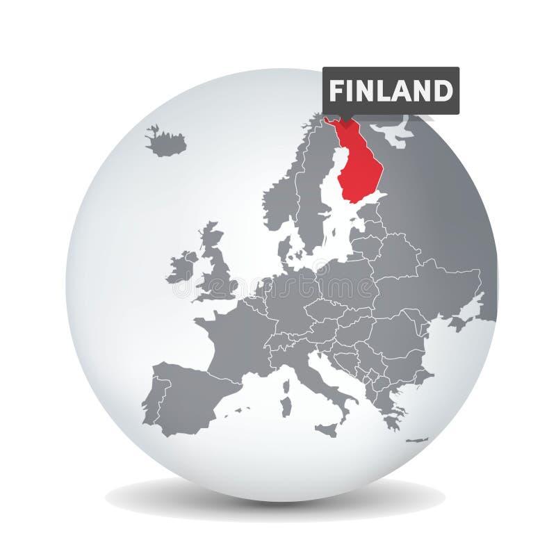 De kaart van de wereldbol met identication van Finland Kaart van Finland vector illustratie