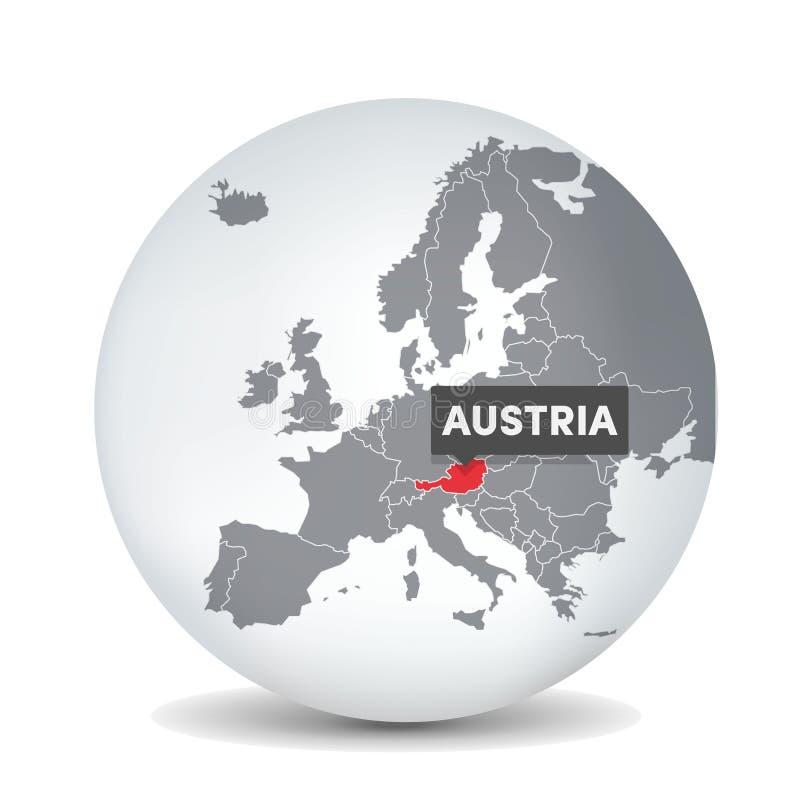 De kaart van de wereldbol met identication van Oostenrijk Kaart van Oostenrijk royalty-vrije illustratie