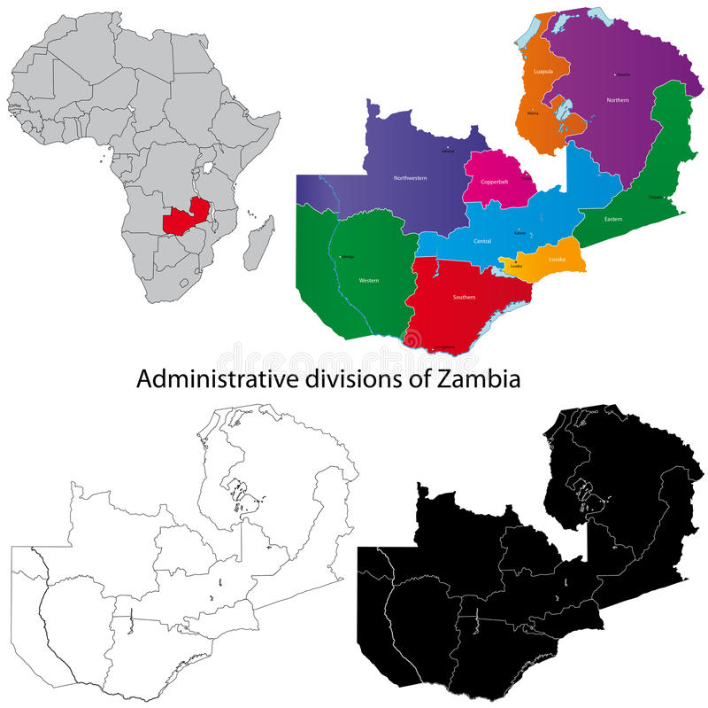 De kaart van Zambia royalty-vrije illustratie
