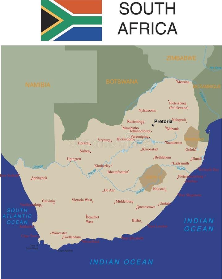 De kaart van Zuid-Afrika. royalty-vrije illustratie