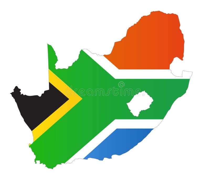 De kaart van Zuid-Afrika royalty-vrije illustratie
