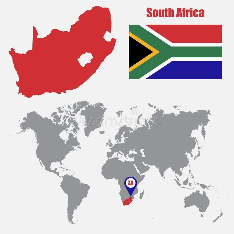 De kaart van Zuid-Afrika op een wereldkaart met vlag en kaartwijzer Vector illustratie royalty-vrije illustratie