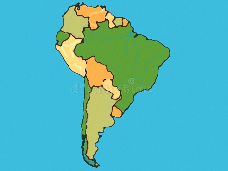 De kaart van Zuid-Amerika stock illustratie