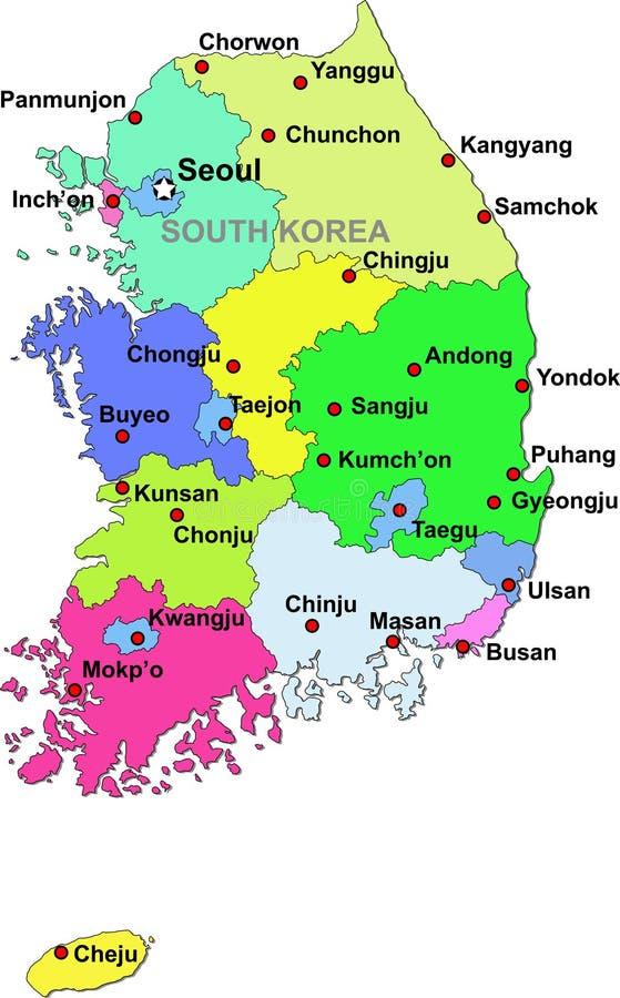 De kaart van Zuid-Korea vector illustratie
