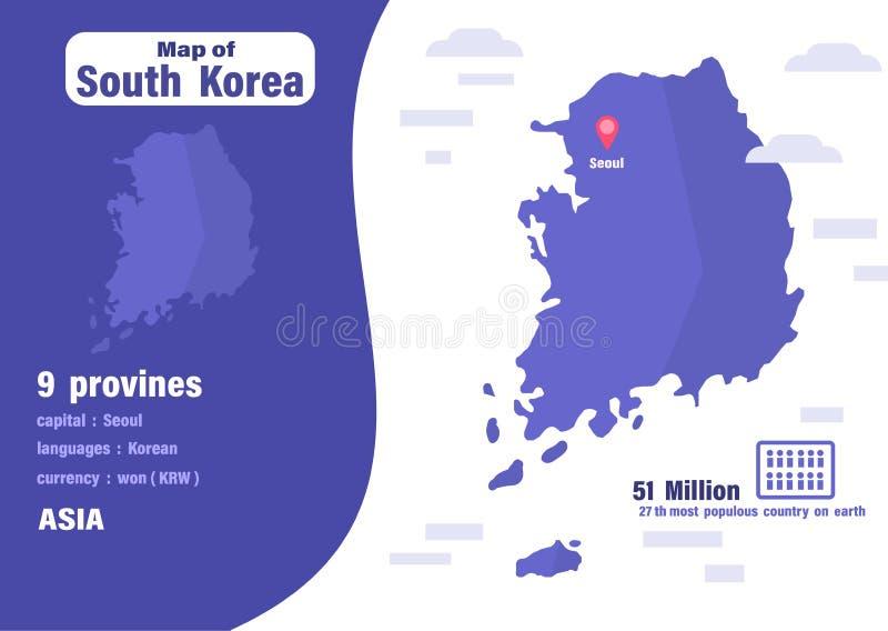 De kaart van Zuid-Korea Aantal bevolking en wereldaardrijkskunde vector illustratie