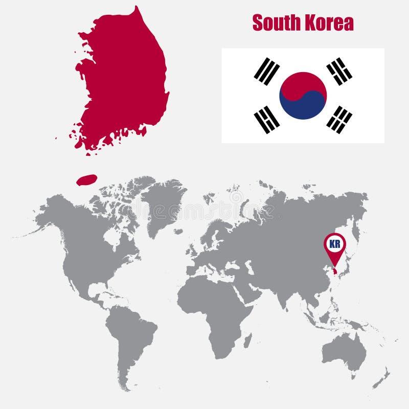 De kaart van Zuid-Korea op een wereldkaart met vlag en kaartwijzer Vector illustratie vector illustratie