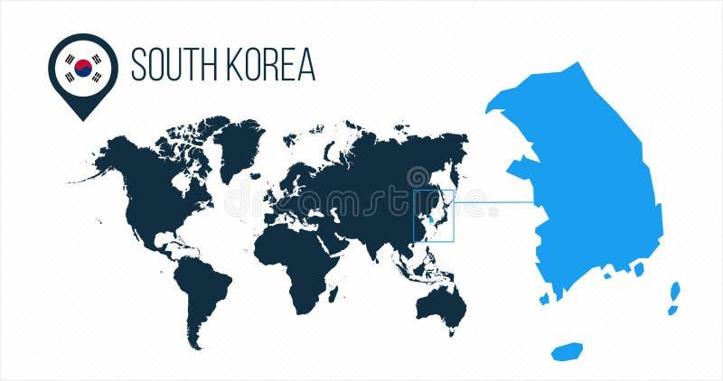 De kaart van Zuid-Korea op een wereldkaart wordt gevestigd met vlag en kaartwijzer of speld die Infographickaart Vectordieillustr royalty-vrije illustratie