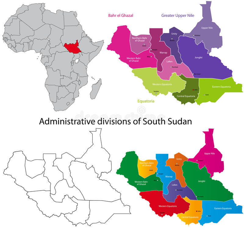 De kaart van Zuid-Soedan