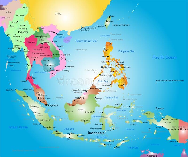 De kaart van Zuidoost-Azië royalty-vrije illustratie
