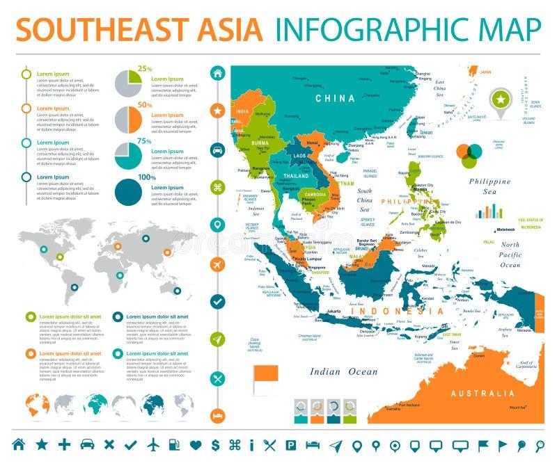 De Kaart van Zuidoost-Azië - Informatie Grafische Vectorillustratie stock illustratie