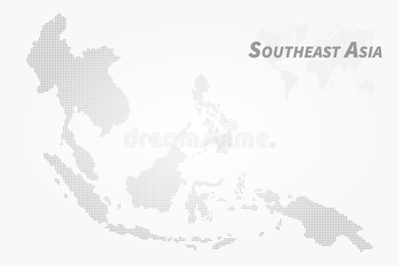 De kaart van Zuidoost-Azi? Het hoge ontwerp van de detailpunt Vector royalty-vrije illustratie