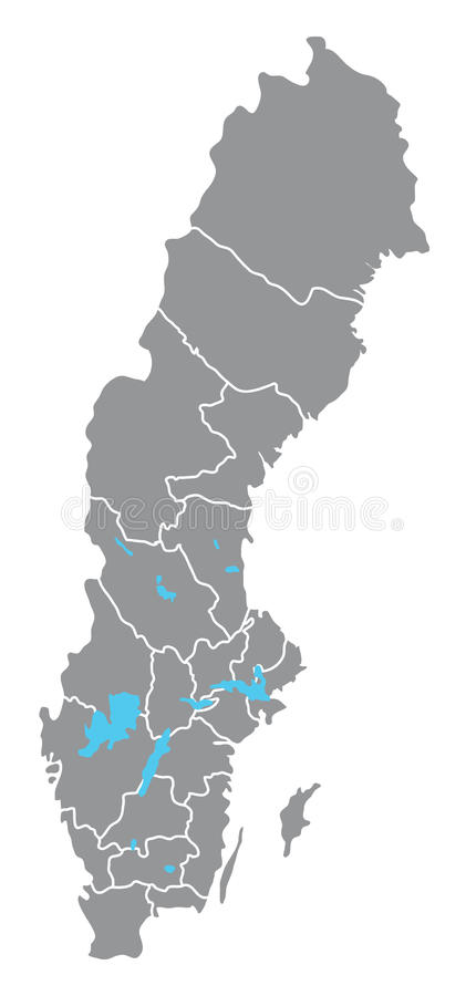 De kaart van Zweden stock illustratie