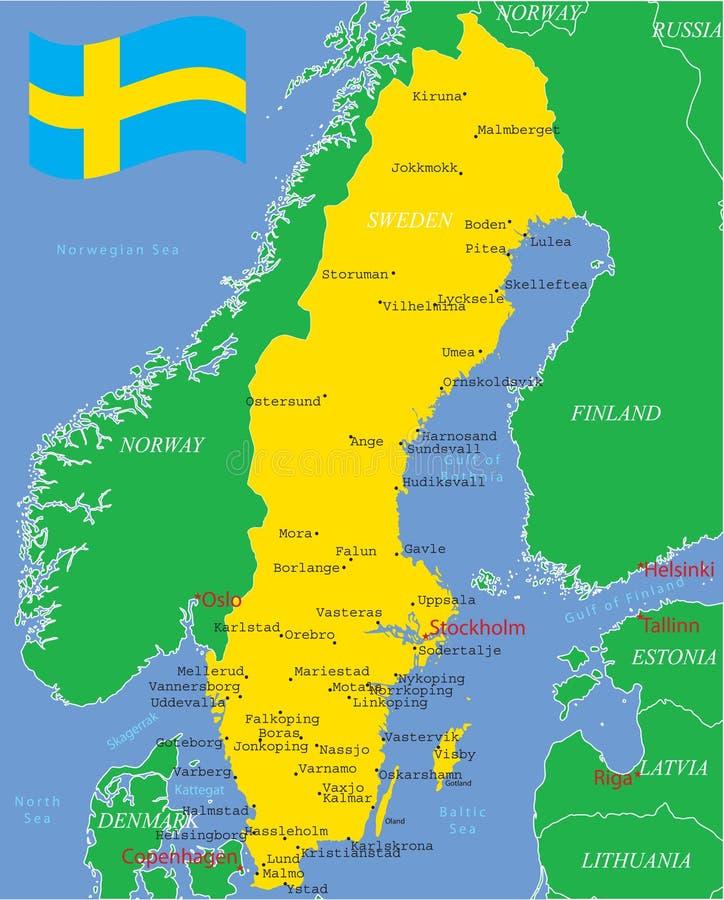 De kaart van Zweden met belangrijke steden. stock illustratie