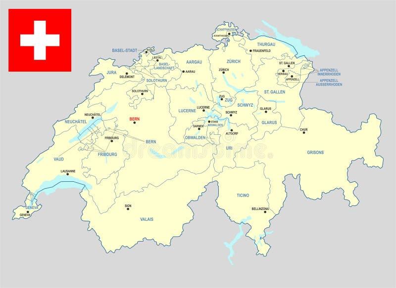 De Kaart van Zwitserland stock illustratie