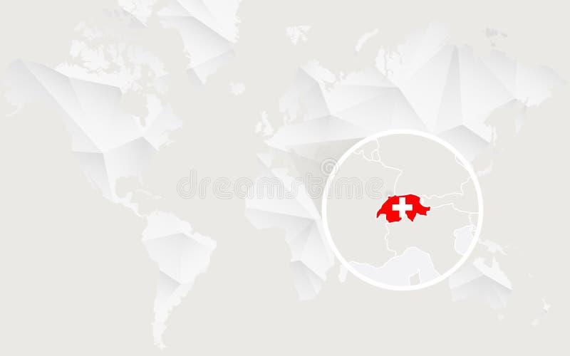 De kaart van Zwitserland met vlag in contour op witte veelhoekige Wereldkaart royalty-vrije illustratie