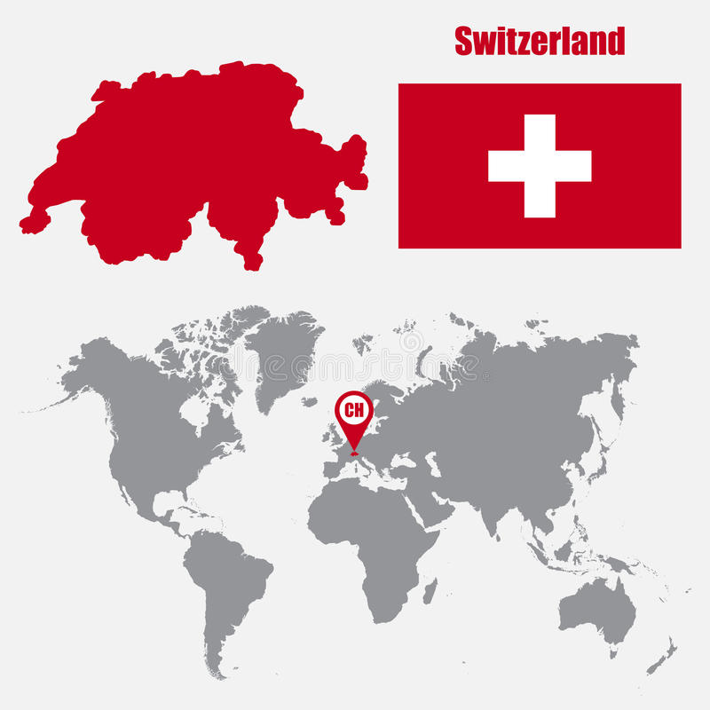 De kaart van Zwitserland op een wereldkaart met vlag en kaartwijzer Vector illustratie royalty-vrije illustratie