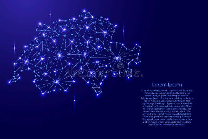 De kaart van Zwitserland van het veelhoekige netwerk van mozaïeklijnen, stralen, ruimtesterren van illustratie vector illustratie