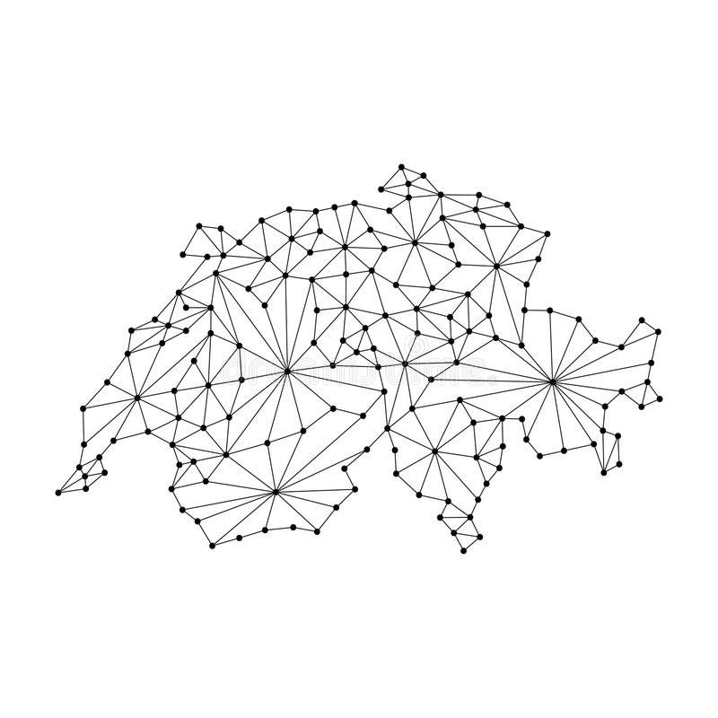 De kaart van Zwitserland van het veelhoekige netwerk van mozaïeklijnen, stralen, stippelt vectorillustratie stock illustratie