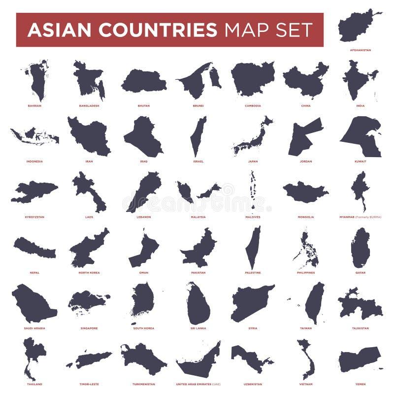 De Kaart Vastgesteld Vectormalplaatje van de Landen van Azi? royalty-vrije illustratie
